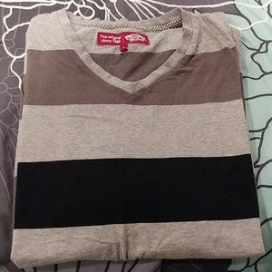 Vans Gray & Black Short Sleeved V-Neck Tee Shirt